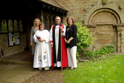 Bishop Alistair is pictured with Revd Val Smith and Church Wardens Rebecca Hadley and Zoe Baggott.